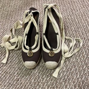 Tory Burch Brown Canvas Espadrille Wedges, Size 9